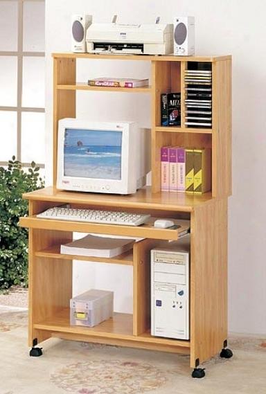Maple Finish Forest Rolling Computer Workstation Shelf Desk