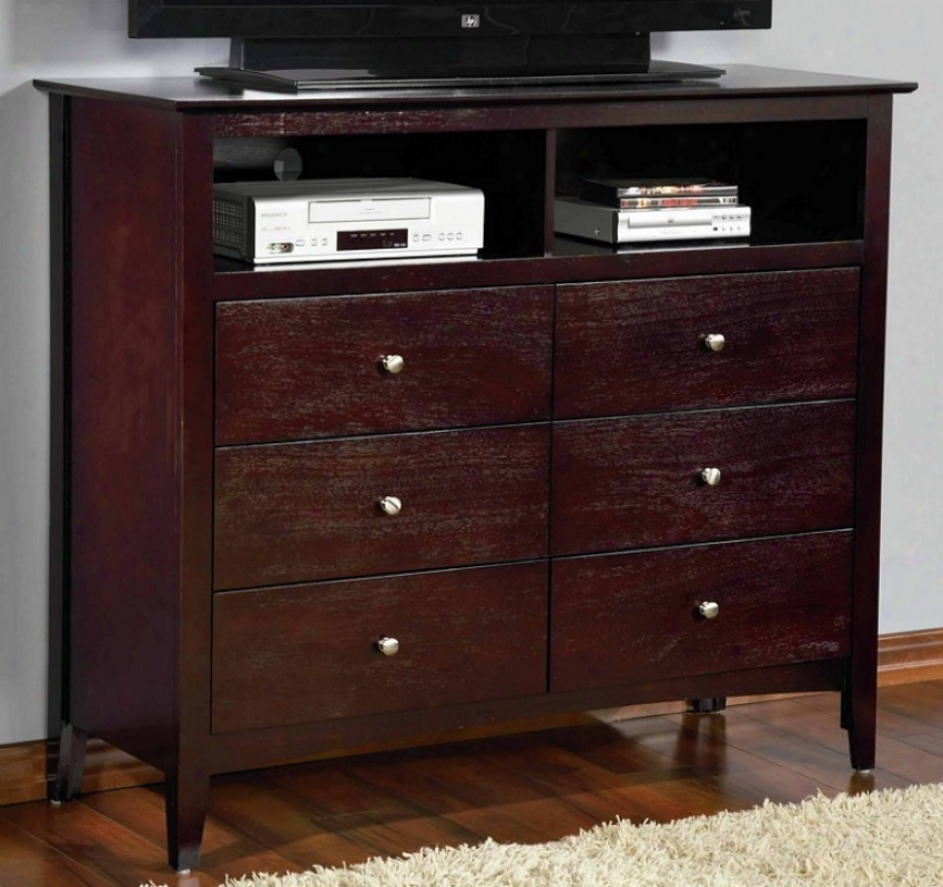 Media Chest Tv Dresser In Rich Merlot Finish