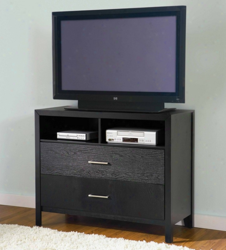 Media Chest Tv Dresser With Wood Grain In Black Finish