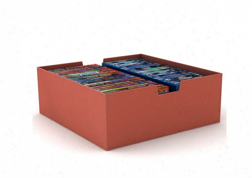 Media Storage Bin Hidden Storage In Ginger Nylon Fabric