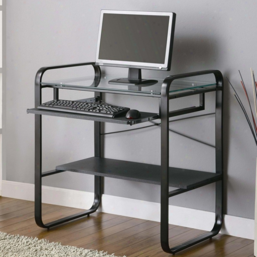 Meatl Computer Desk With Glass Top In Black And Gray Finish