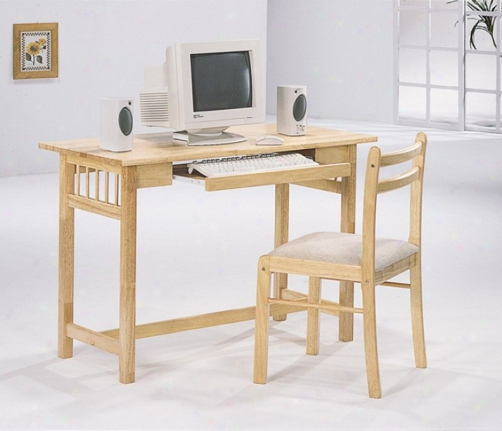 Mission S5yle Natural Computer Desk & Chair Set W/keyboard Drawer