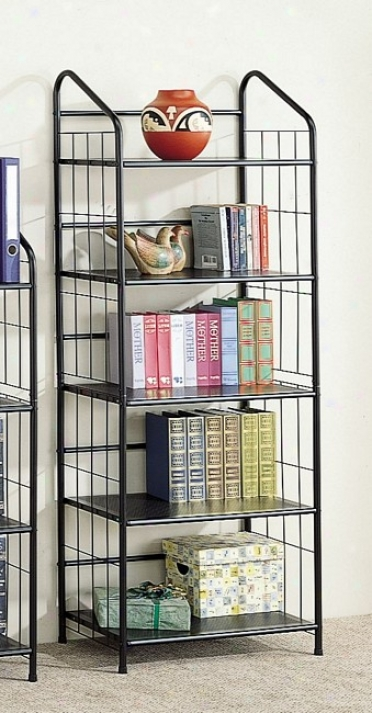 Modern And Contemporary Style Black Metal Five Tier Bookcase