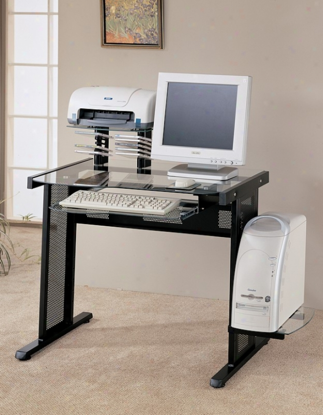 Modern Black Finish Computer Work Station Desk Table