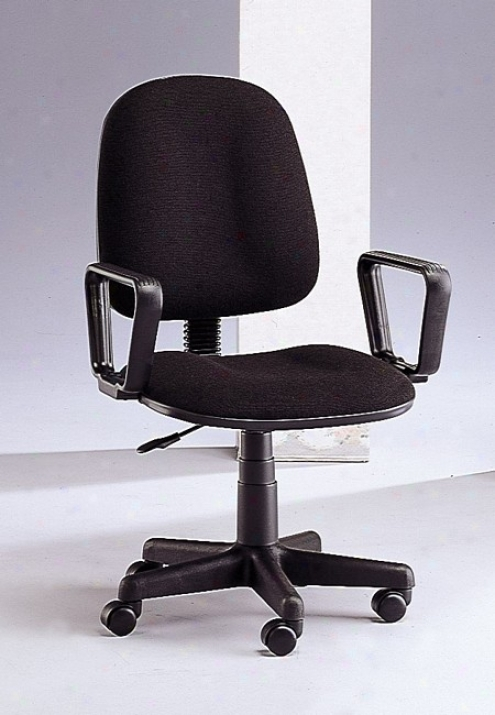 Modern Black Office Chair With Gas Lift Swivel Seat And Black Fabric Cushioned Seat And Back