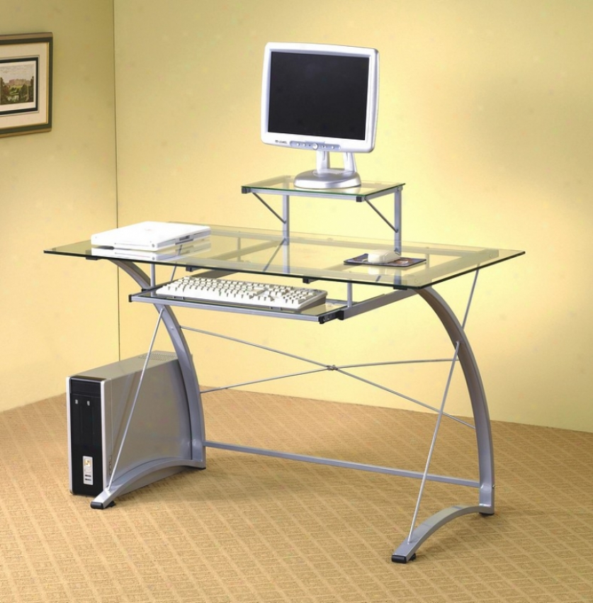 Modern Casual Style Metal & Glass Home Office Computer Desk