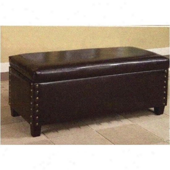 Nailhead Trim Brown Storage Bench With Solid Wood Legs