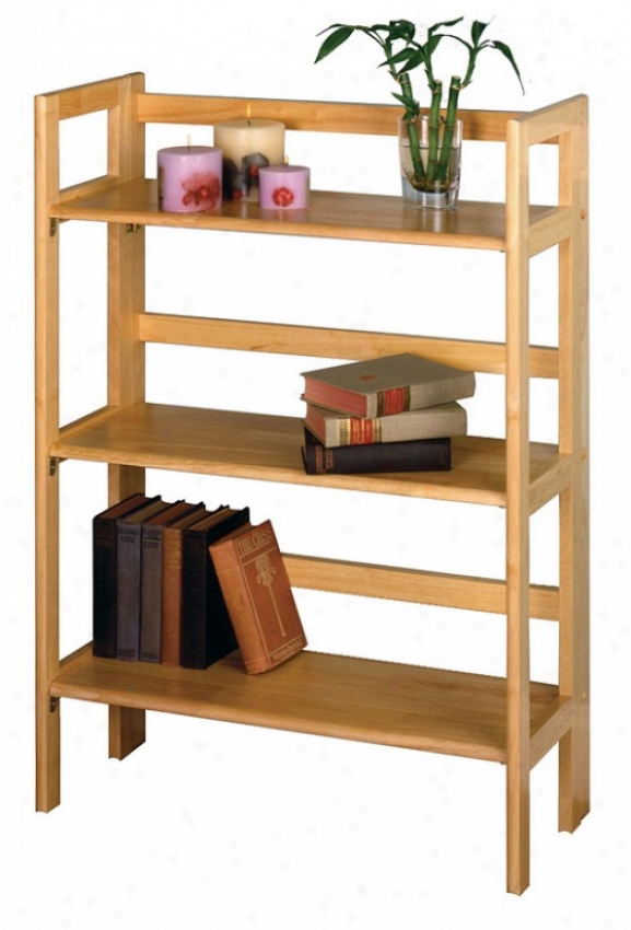 Natural Finish 3-tier Folding And Stackable Shoal / Bookcase