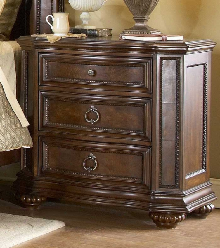 Night Stand With Delicate Carvings In Warm Brown Finish
