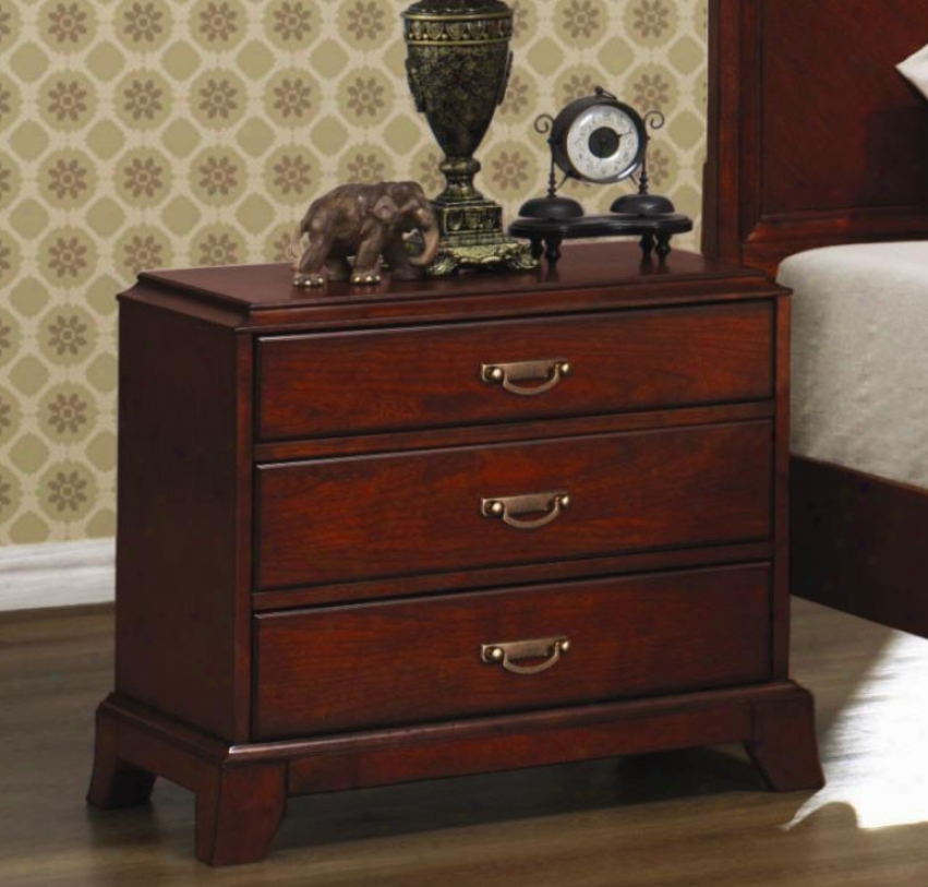 Night Stand With Flared Legs In Cherry Finish
