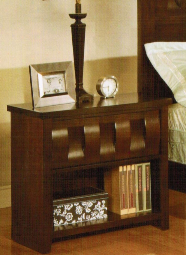 Night Stand With Open Shelf In Deep Brown Finish