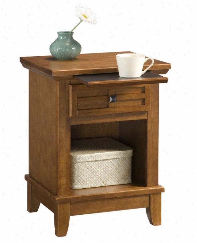 Night Stand With Pull-out Waiter In Cottage Oak Finish