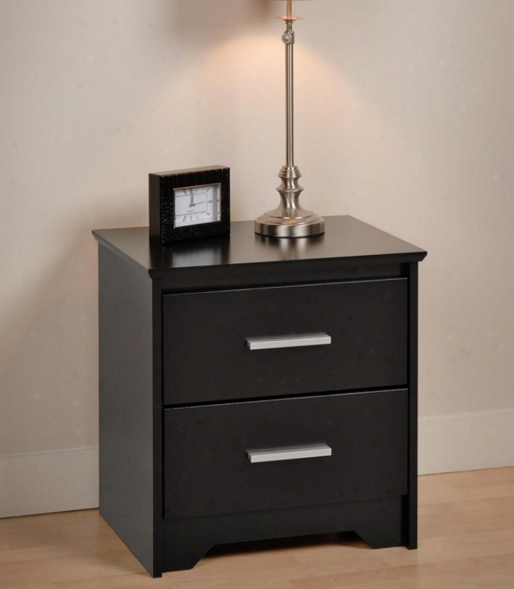 Night Resist  With Two Drawers In Black Finish