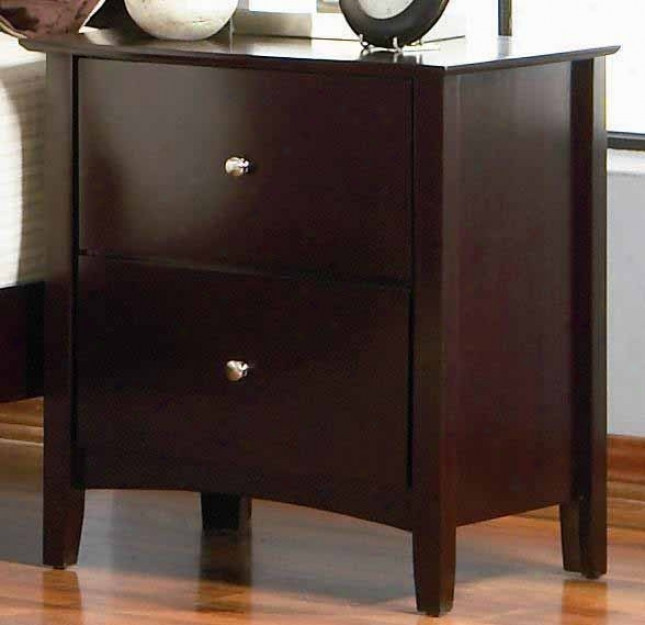 Night Stand With Pair Drawers In Ricg Merlot Finish