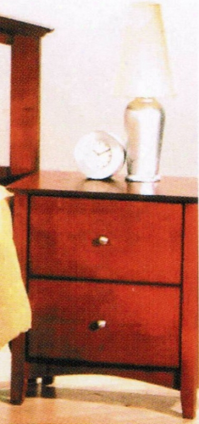 Nightstand Contemporary Style Cherry Finish