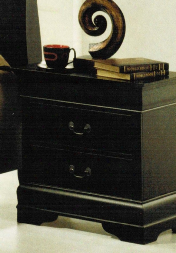 Nightstand Louis Phillipe Style In Black Finish