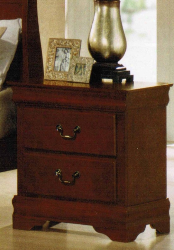 Nightstand Louis Pbillipe Style In Cherry Oak Finish