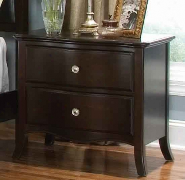 Nightstand With Curved Feet In Espresso Finish