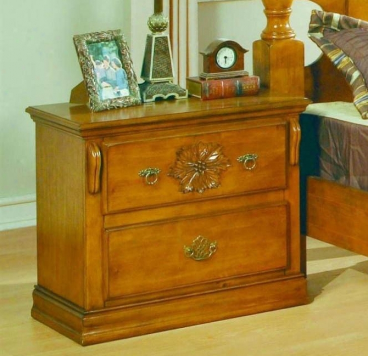 Nightstand With Floral Carving In Pine Finish