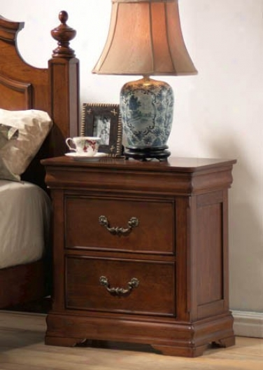 Nightstand With Louiss Philippe Style In Rich Caramel Finish