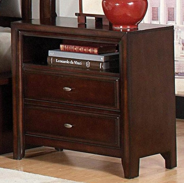 Nightstand With Open Division In Dark Mahogany Finish