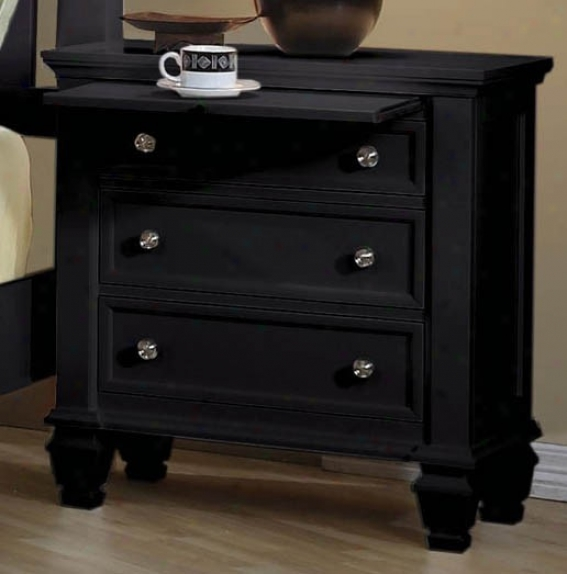 Nightstand With Pull Out Tray In Black Finish