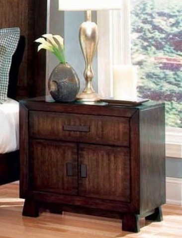 Nightstand With Taper Feet In Rich Brown Finish