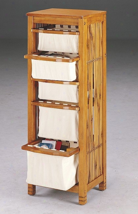 Oak Finish All Purpose Rack W/ Glide Out Fabric Baskets