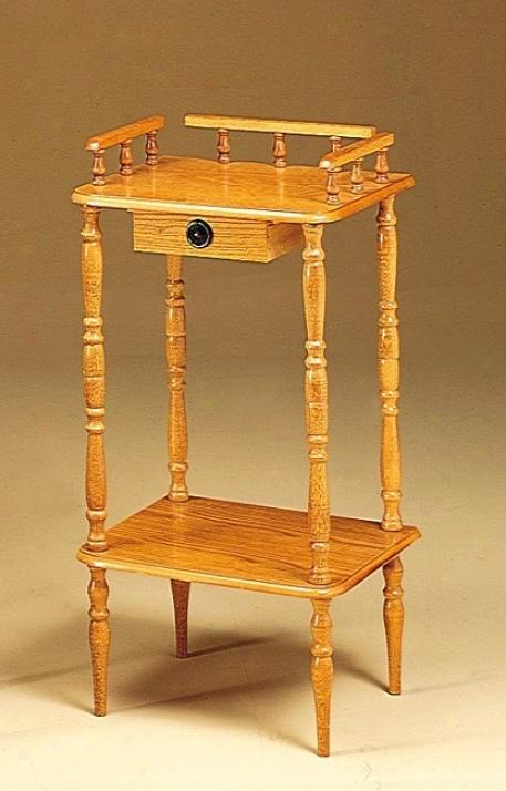 Oak Finish Wood Phone Stand/side Food Furniture