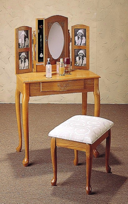 Oak Finish Wood Vanity Table Stool/bench & Mirror Sdt W/photo Frame