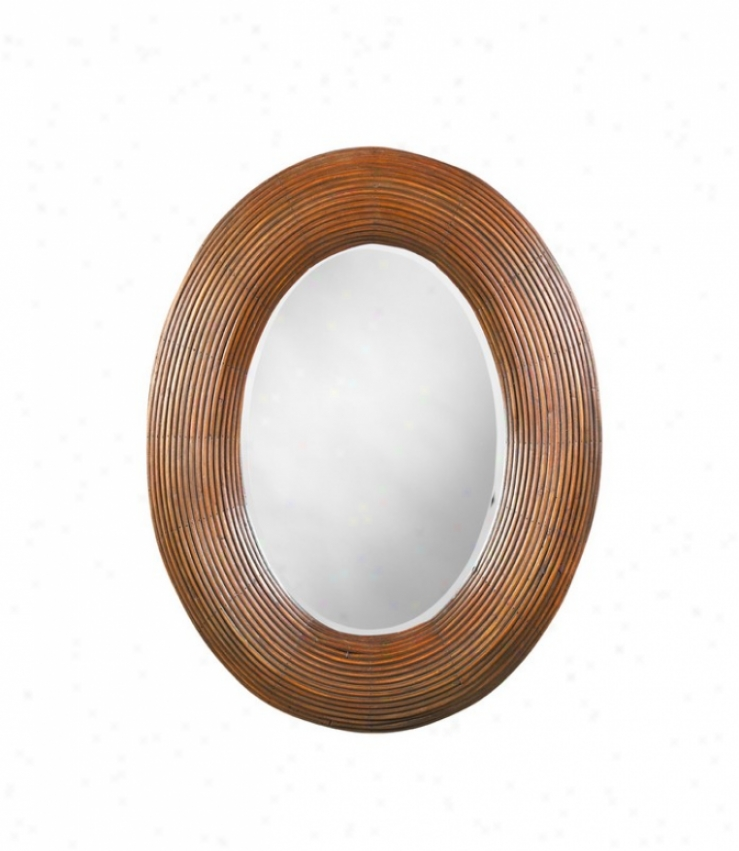 Oval Bamboo Wall Mirror In Nqtural Bamboo Finish