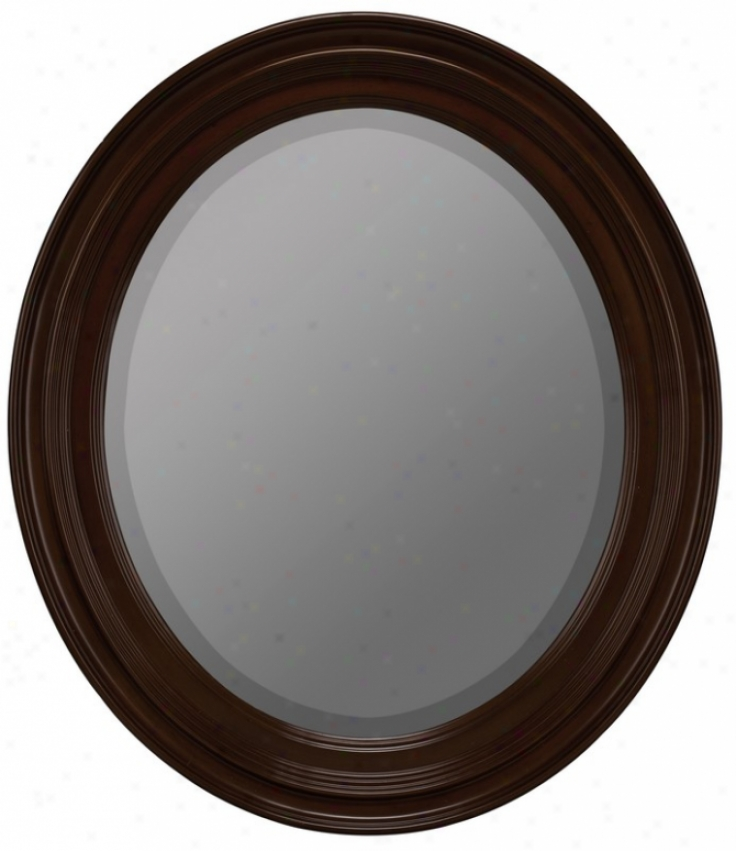Oval Beveled Mirror With Fluted Frame In Cherry Finish