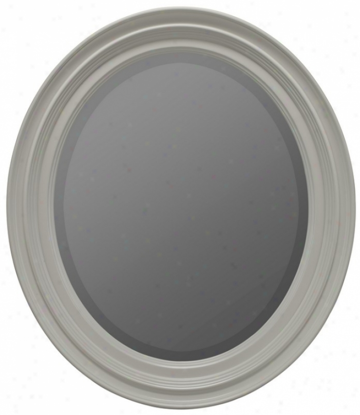 Oval Beveled Mirror With Fluted Frame In White Finish