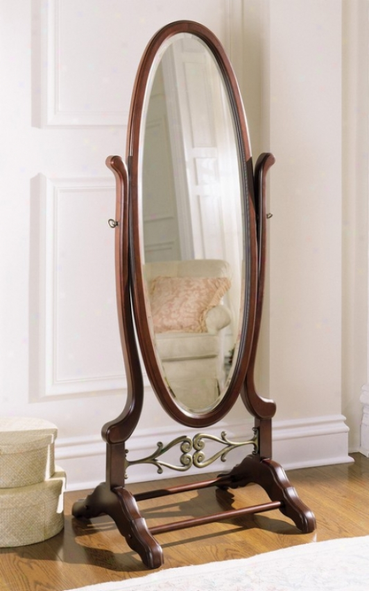 Oval Floor Cheval Mirror With Scroll Language In Heirloom Cherry Finish