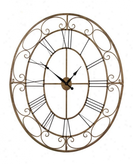 Oval Wall Clock With Black Roman Numerals In Antique Gold Finish