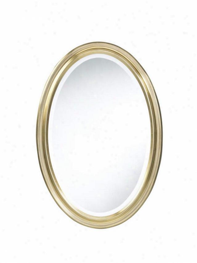 Oval Wa1l Mirror Contemporary Style In Antique Gole Finish