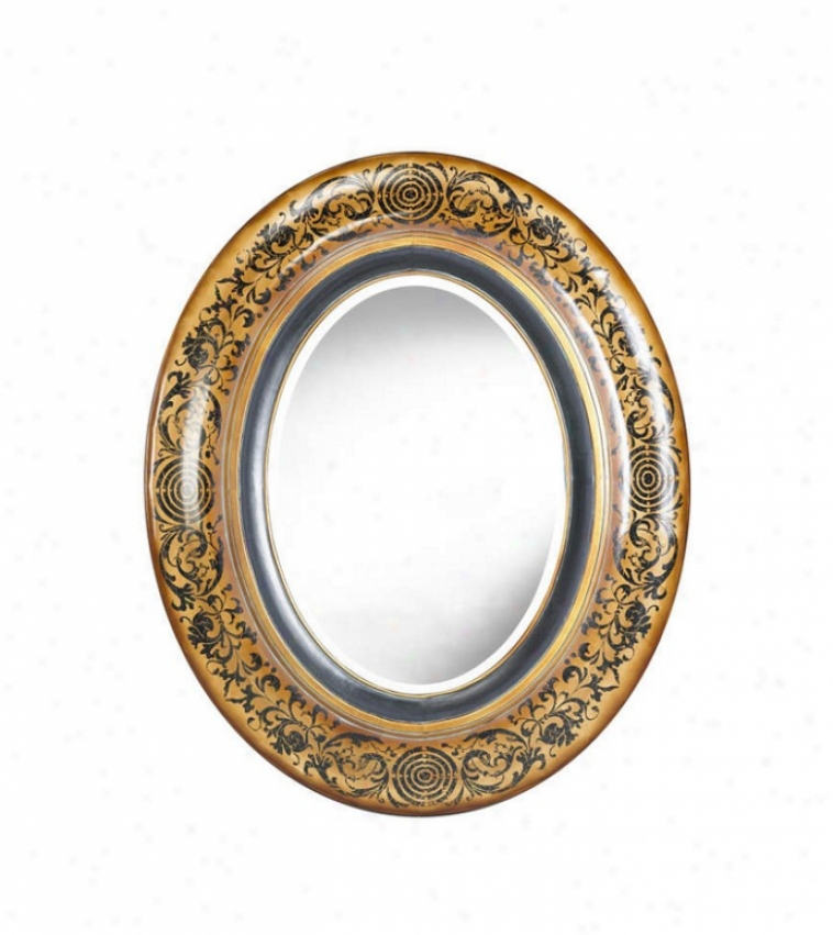 Oval Wall Mirror In Distressed Honey Finish With Hand Painted Black Details