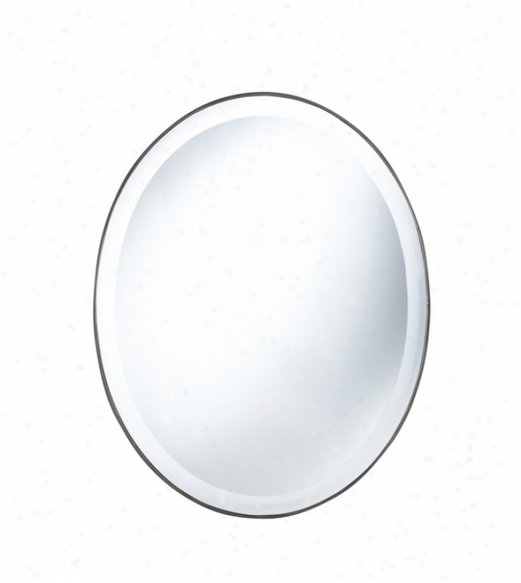 Oval Wall Reflector With Slender Mirror Form In Silver Finish