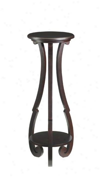 Pedestal Plant Stand Cotatge Style In Merlot Finish
