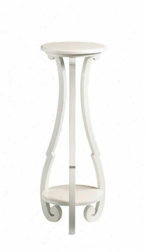 Pedestal Plant Stand Cottage Style In Shabby White Finish