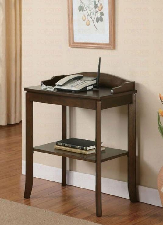 Phone Stand/ Side Tabld In Walnut Finish