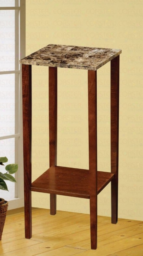 Plant Stand With Faux Marble Top In Cherry Finish
