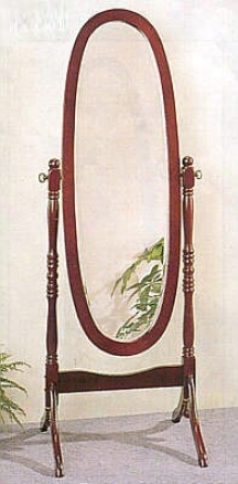 Queen Anne Style Cherry Polish Forest Bevelled Cheval Floor Mirror