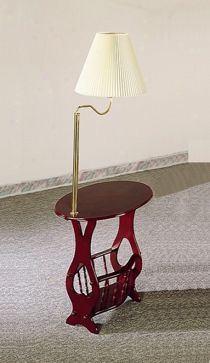 Queen Anne Style Cherry Finish Wood Magazine End Table W/lamp