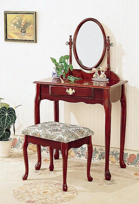 Queen Anne Style Cherry Finish Wood Vanity Table Stool/bench & Mirror Set