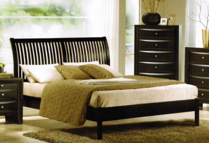 Queen Size Bed - Contemporary Black Finish