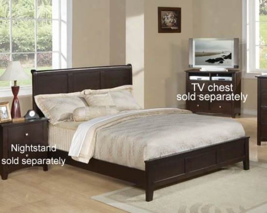 Queen Size Bed Contemprary Style In Cappuccino Perfect