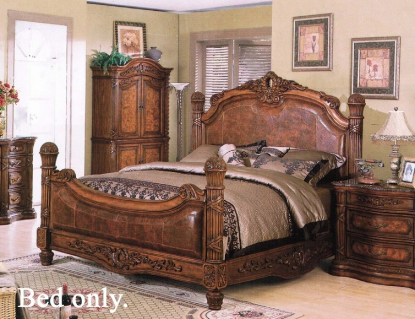 Queen Size Bed Dark With Brown Leather