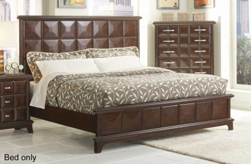 Queen Size Bed Diamond Square Pattern In Dark Chocolate