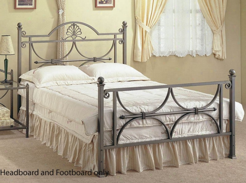 Queen Size Bed Heeadboard And Footboard - Silver Finish